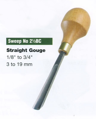 Straight Gouge Blockcutter (Sweep 2 1/2BC)