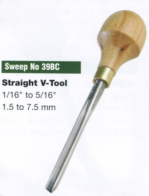 Straight V-Tool Blockcutter (Sweep 39BC)