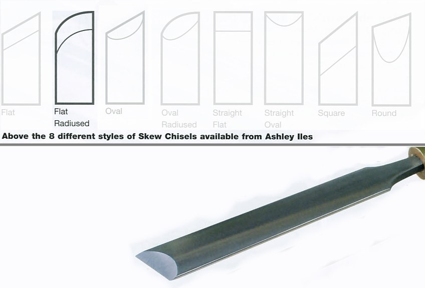 "31mm 1 1/4"" Flat Section Radius Edge Skew Chisel"