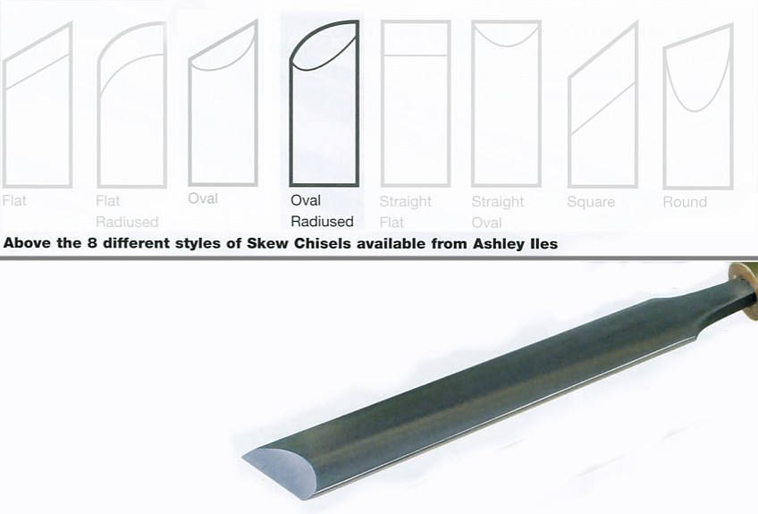 "25mm 1"" Oval Section Radius Edge Skew Chisel"